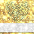 Gold card with heart and stars — Stock Photo