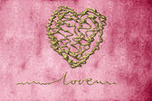 Romantic cards, heart in gold thread — Stock Photo