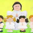 Royalty-Free Stock Photo: Cheerful first communion card, funny children with angel