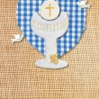 First communion card pretty rustic chalice and pigeons — Stock Photo