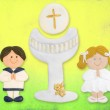 First communion card funny, boy brown blonde girl — Stock Photo
