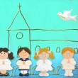 Royalty-Free Stock Photo: Child jolly card first communion, church and group of children