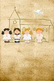Vertical card first communion, happy children — Stock Photo