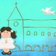 First communion card cute dark-haired doll - Stock Photo