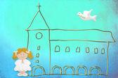 最初の聖体拝領のカードは、金髪のかわいい人形 — ストック写真