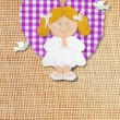 First Holy Communion Invitation Card, rustic style, funny blond girl — Стоковая фотография