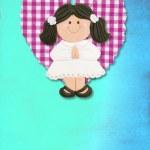 carta di invito prima comunione, ragazza brunetta carina — Foto Stock
