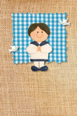 First Holy Communion Invitation Card, rustic style, funny brunette boy — Stock Photo
