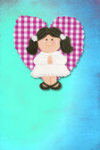 First Holy Communion Invitation Card, cute brunette girl — Stock Photo
