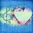 Music Romantic card,heart and treble clef — Stock Photo