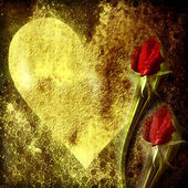 Aşk, kalp ve kırmızı gül goncası arka planı — Stok fotoğraf