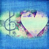 Cartão romântico música, clave de sol e coração — Fotografia Stock