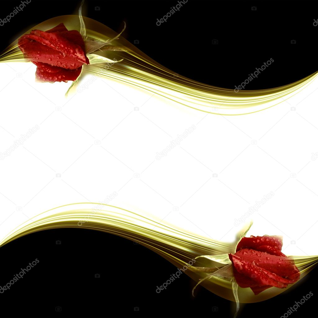 Elegant romantic card rosebuds red, with white copy  space for text — Stock Photo #8786773