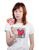 Red-haired Girl With A Lollipop — Stock Photo