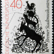 GERMANY - CIRCA 1982: A stamp printed in Germany shows cartoon drawing of trotamusicos, circa 1982 — Stock Photo