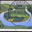 GERMANY - CIRCA 2000: stamp printed in Germany, shows Saar River, circa 2000. — Stock Photo