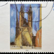 GERMANY - CIRC2002: stamp printed in Germany shows work Halle market church by Lyonel Feiniger, circ2002 — Stock Photo #10208794