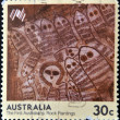 AUSTRALI- CIRC1984: stamp printed in Australishows first australians: Rock paintings, circ1984 — Stock Photo #10208820