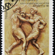 BULGARIA - CIRCA 1996: A stamp printed in Bulgaria dedicated to Atlanta Olympic Games, shows boxing, circa 1996 — Stock Photo
