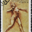 BULGARIA - CIRCA 1996: A stamp printed in Bulgaria dedicated to Atlanta Olympic Games, shows The woman's Shot, Put, circa 1996 — Stock Photo
