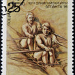 BULGARIA - CIRCA 1996: A stamp printed in Bulgaria dedicated to Atlanta Olympic Games, shows Canoeing, circa 1996 — Stock Photo