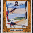 Stock Photo: NORTH KORE- CIRC1980: stamp printed in DPR Kore(North Korea) shows Louis Bleriot and his plane, Conqueror of Sky and Space, circ1980