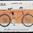 Stock Photo: CUBA - CIRCA 1993: A stamp printed in Cuba dedicated to retrospective of the bike, circa 1993
