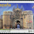 Foto de Stock  : SPAIN - CIRC2012: stamp printed in Spain dedicated to arches and monumental gates, shows Door Hinge in Toledo, circ2012