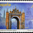 Stock Photo: SPAIN - CIRC2012: stamp printed in Spain dedicated to arches and monumental gates, shows Arc or Puertde lMacarenin Seville, circ2012