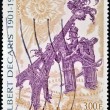 FRANCE - CIRC2001: stamp printed in France shows image of Arch of Triumph courting Eiffel Tower, by Albert Decaris, circ2001 — Stock Photo #10209473
