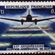 FRANCE - CIRCA 1964: A stamp printed in France dedicated to 25 anniversary night postal service in France, circa 1964 — Stok fotoğraf
