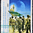 IRAN - CIRCA 1987: A stamp printed in Iran dedicated to birth anniversary of Imam Hossein - revolutionary guard´s day, circa 1987 — Stock Photo