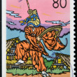 Foto de Stock  : JAPAN - CIRC1999: stamp printed in Japshows Dance Kokiriko, ToyamPrefecture, circ1999