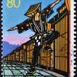 Foto de Stock  : JAPAN - CIRC1997: stamp printed in Japdedicated to Bon of wind Owara, shows dancing man, circ1997