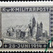 Постер, плакат: BOSNIA AND HERZEGOVINA CIRCA 1917: A stamp printed in Bosnia and Herzegovina in memory of the assassination of Franz Ferdinand Archduke of Austria on June 28 1914 circa 1917