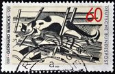 GERMANY - CIRCA 1989: A stamp printed in Germany shows the Cats in the Attic, Woodcut by Gerhard Marcks, circa 1989 — Stock Photo