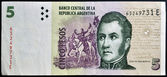 ARGENTINA - CIRCA 2003: Jose de San Martin on 5 Pesos 2003 Banknote from Argentina, circa 2003 — Stock Photo