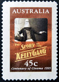 AUSTRALIA - CIRCA 1995: A stamp printed in Australia shows the story of the Kelly Gang, circa 1995 — Stock Photo