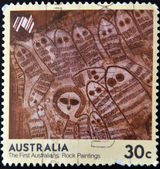 AUSTRALIA - CIRCA 1984: A stamp printed in Australia shows the first australians: Rock paintings, circa 1984 — 图库照片