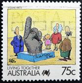 Australië - circa 1988: een stempel gedrukt in australië toont samenleven, beeldende kunst, circa 1988 vieren — Stockfoto