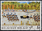BELGIUM - CIRCA 1980: A stamp printed in Belgium shows royal Parade, circa 1980 — Stock fotografie
