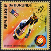 BURUNDI - CIRCA 1975: A stamp printed in Burundi shows Apollo 11, circa 1975 — Stock Photo