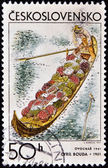 CZECHOSLOVAKIA - CIRCA 1971: A stamp printed in Czechoslovakia, shows fruit grower´s barge by Cyril Bouda, circa 1971 — Stock Photo