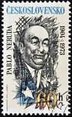 CZECHOSLOVAKIA - CIRCA 1973: A stamp printed in Czechoslovakia shows Pablo Neruda, circa 1973 — 图库照片