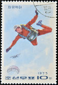 NORTH KOREA - CIRCA 1975: A stamp printed in North Korea shows parachutist, circa 1975 — Stock Photo