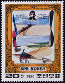 NORTH KOREA - CIRCA 1980: A stamp printed in DPR Korea (North Korea) shows Louis Bleriot and his plane, The Conqueror of Sky and Space, circa 1980 — Stock Photo