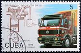 CUBA - CIRCA 1993: A stamp printed in Cuba dedicated to Diesel engine development, shows truck, circa 1993 — Stock Photo
