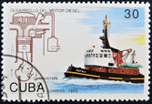 CUBA - CIRCA 1993: A stamp printed in Cuba dedicated to Diesel engine development, shows ship, circa 1993 — Stock Photo