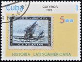CUBA - CIRCA 1988:A stamp printed in Cuba shows latin american history, circa 1988 — Foto Stock