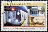 CUBA - CIRCA 2008: A stamp printed in Cuba dedicated to subways, shows the New York subway, circa 2008 — Stock Photo